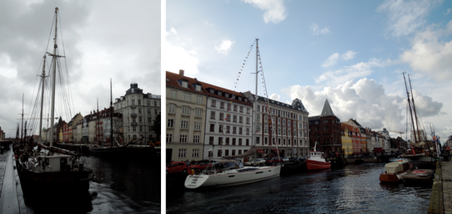 Two photos taken a few hours apart: About to start pouring rain / Oh my goodness, blue sky!