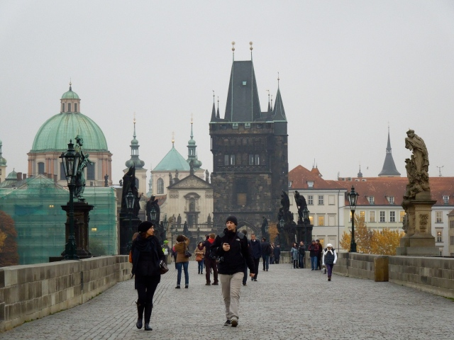 The Charles Bridge early morning crowd