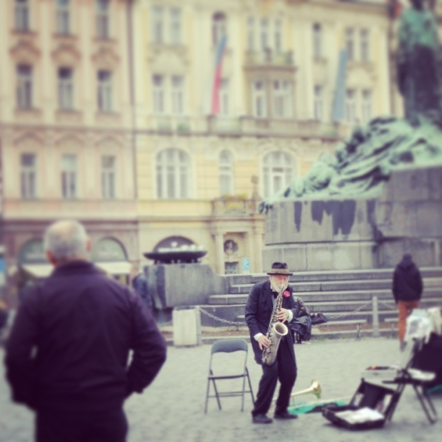 Supposedly, this gentleman playing saxophone in Old Town Square won the lottery, but continues his work as a street performer because he finds it fun. I don't think this rumor is true, but it's a charming story.
