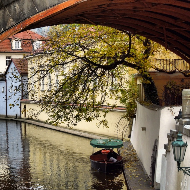 A small canal on the West side of the Vltava River