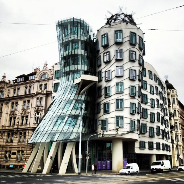 The Dancing Building, also known as Fred and Ginger (named for Fred Astaire and Ginger Rogers) is a collaborative work of modern architecture by Vlado Milunić and Frank Gehry, which stands out in a city full of Baroque, Gothic, and Art Nouveau buildings.