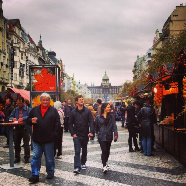 Stands in Wenceslas Square selling food and mulled wine