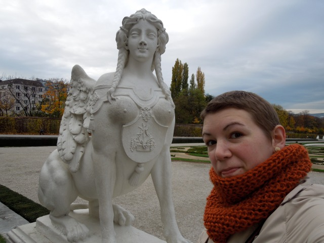 In the Belvedere gardens with an interesting-looking statue