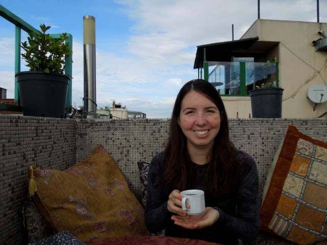 Katie drinking Turkish tea on the rooftop terrace. She joined me for 3 weeks and 5 countries worth of adventures, so you'll be seeing more of her.