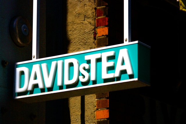 The sign outside David's Tea on Queen Street West, Toronto