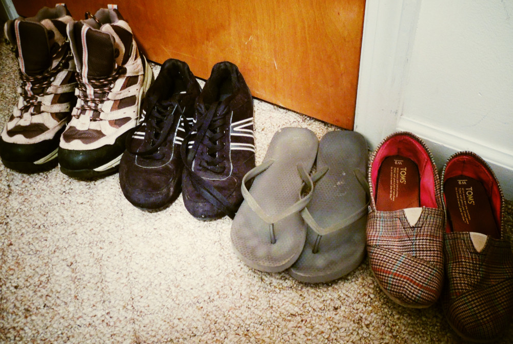 Hiking boots, sneakers, flip-flops, Toms: Only two of these pairs of shoes made it back from Hawai'i...