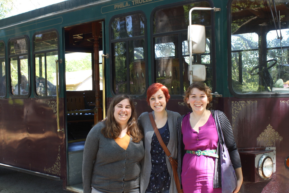 Lisa, Sarah, and me with the trolley car