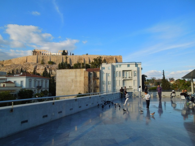 The view of the Parthenon from the Acropolis Museum.
