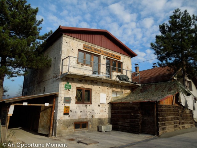 You can see bullet holes on this private residence, which housed the entrance to the Sarajevo Tunnel and is now home to the museum