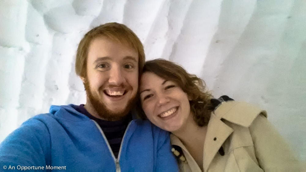 Anniversary selfie inside an igloo